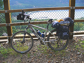 Adrian's mountain bike is packed up with a hornless saddle installed ready for a 10, 000 kilometer tour.
