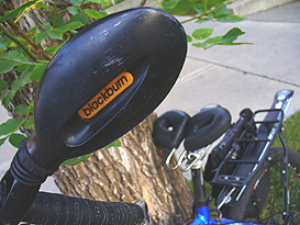 Adrian's mountain bike with the unique shape of the Spiderflex hornless saddle that constantly brings people to comment or ask about it.
