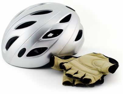 Silver cycling Helmet and cyclist gloves