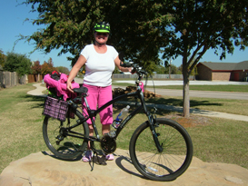 Debra and her bicycle with Spiderflex Seat installed