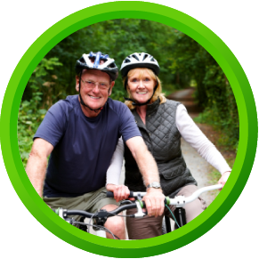 Healthy Riding - a couple sitting on their bikes with comfortable Spiderflex noseless bicycle saddles