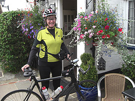 Jackie and her bicycle with Spiderflex seat- 300 miles in a week