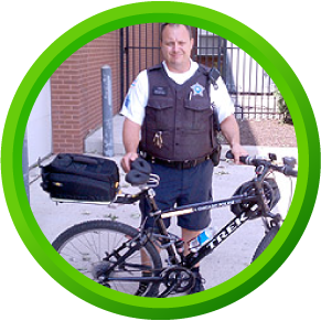 Police Officer using a Spiderflex comfortable bike seat for occupational use for comfort and health