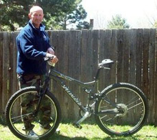 Don, his mountain bike with Spiderflex bike seat - Prostrate Surgery - Pain Free Cycling - Don