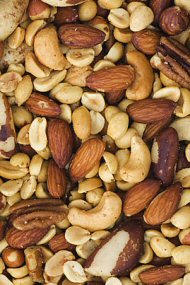 Mixed Nuts including almonds, cashews, peanuts, Pecans, Brazil nuts